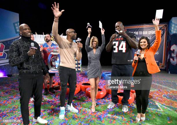 Chad Ochocinco, Terrell Owens, Sara Walsh, Shaquille O'Neal, and Jen Lada attend The SHAQ Bowl for Super Bowl LV on February 07, 2021 in Tampa,...
