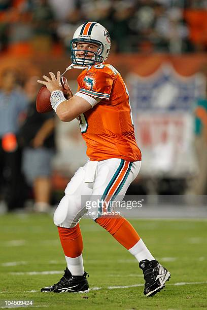 Chad Pennington of the Miami Dolphins throws the ball prior to the game against the New York Jets on September 26 2010 at Sun Life Stadium in Miami...