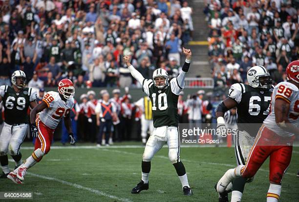 Chad Pennington of the New York Jets celebrates after they scored against the Kansas City Chiefs during an NFL football game November 11 2001 at...