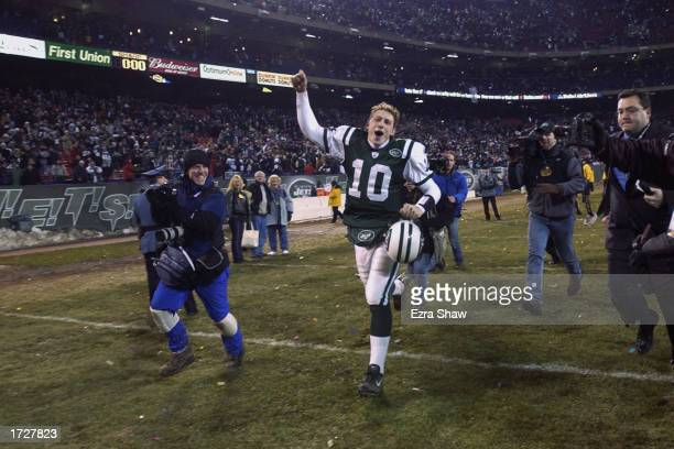 Chad Pennington of the New York Jets celebrates at the end of the game against the Indianapolis Colts during their AFC Wildcard Game on January 4...