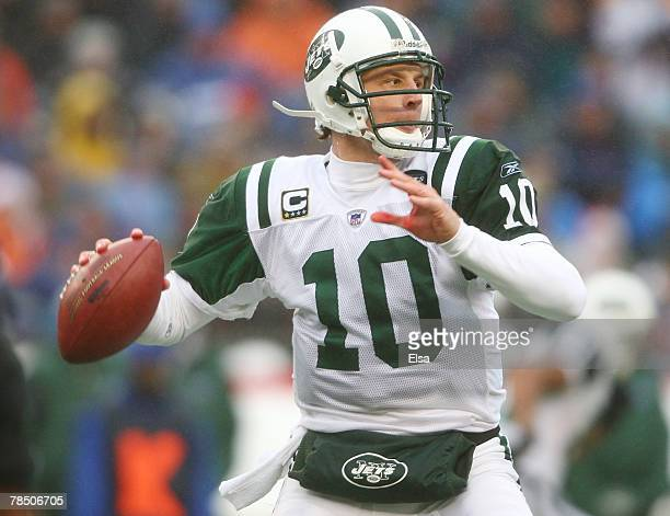 Chad Pennington of the New York Jets passes the ball in the first half against the New England Patriots on December 16 2007 at Gillette Stadium in...