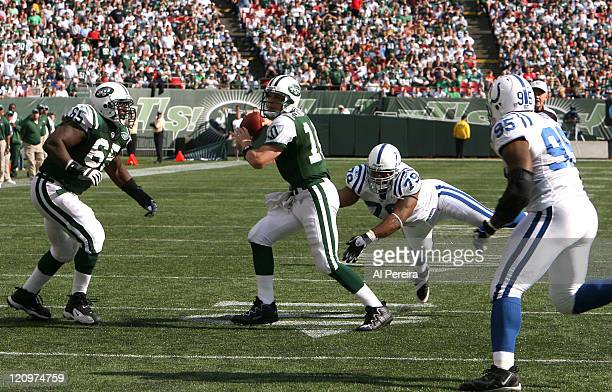 Chad Pennington scrambles during the game between the New York Jets and the Indianapolis Colts at Giants Stadium in East Rutherford New Jersey on...