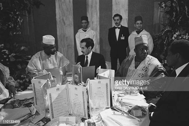 Chad President Hissene Habre talking to Mauritanian President Ould Sid'Ahmed Taya at the French-African summit in Casablanca, Morocco on December 15,...