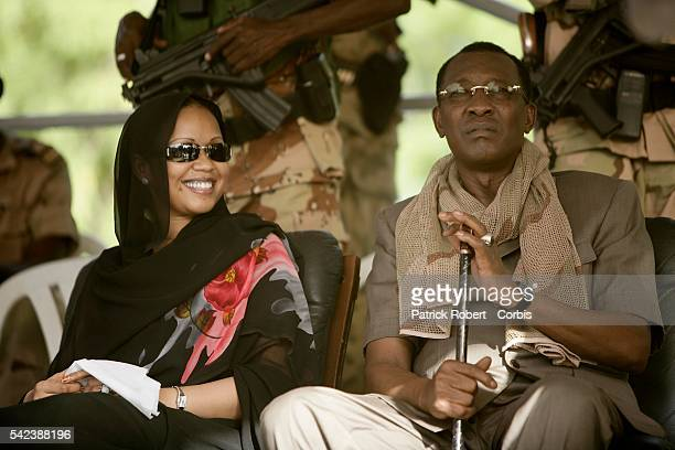 Chad President Idriss Deby and his last wife Hinda during a demonstration organized by the governmental union MPS During the rally Idriss Deby...