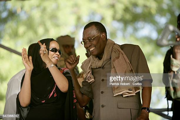 Chad President Idriss Deby and his wife Hinda attend a demonstration organized by the government union MPS During the rally Idriss Deby denounced the...