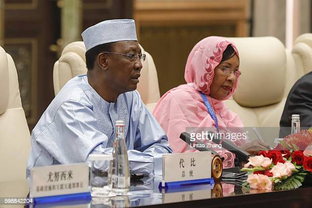 Chad President Idriss Deby Itno speaks during meeting with Chinese President Xi Jinping at the West lake State Guest House on September 3 2016 in...