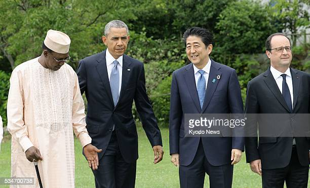 Chad President Idriss Deby Itno US President Barack Obama Japanese Prime Minister Shinzo Abe and French President Francois Hollande prepare for a...