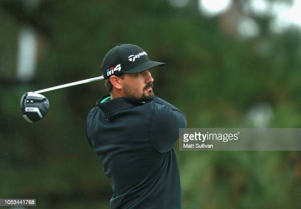 Chad Ramey watches his tee shot on the ninth hole during the first round of the Sanderson Farms Championship at the Country Club of Jackson on...