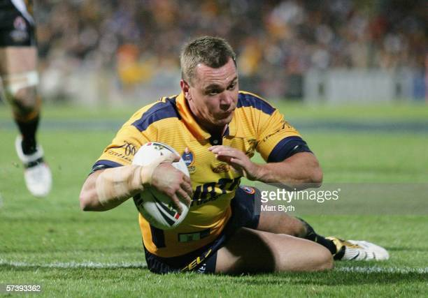 Chad Robinson of the Eels scores a try during the round seven NRL match between the Parramatta Eels and the Wests Tigers held at Parramatta Stadium...