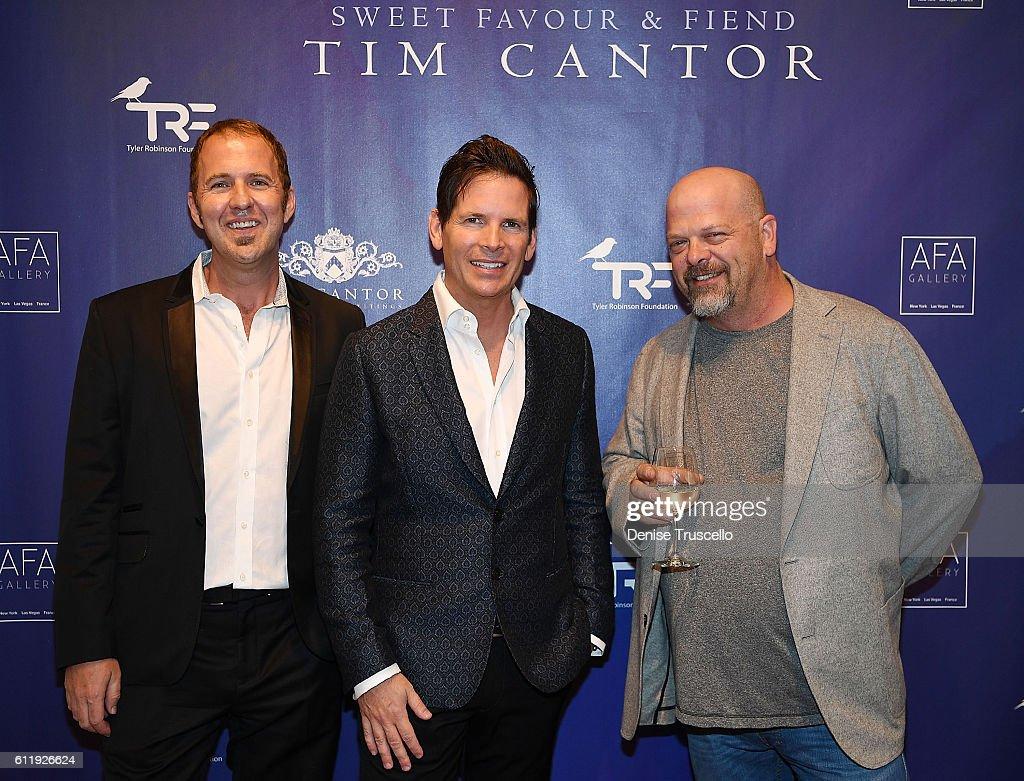 """Imagine Dragons And HISTORY's """"Pawn Stars"""" Rick Harrison Attend Artist Tim Cantor's Las Vegas Art Exhibit At AFA Gallery : News Photo"""