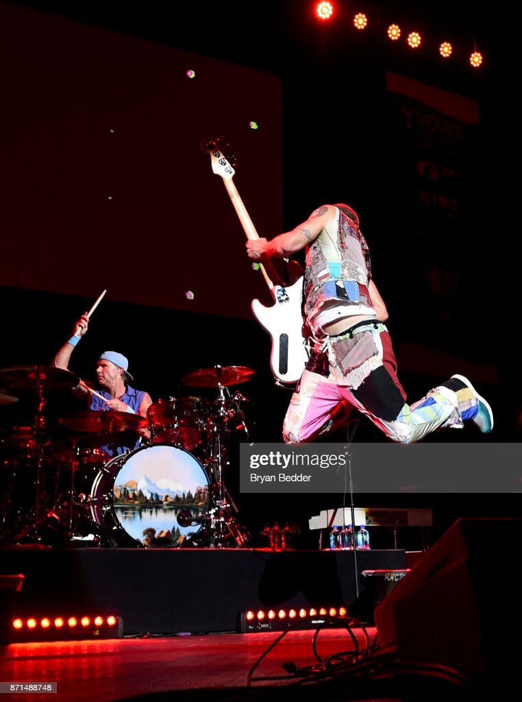 Chad Smith and Flea of Red Hot Chili Peppers perform onstage during the 11th Annual Stand Up for Heroes Event presented by The New York Comedy Festival and The Bob Woodruff Foundation at The Theater at Madison Square Garden on November 7, 2017 in New York City.