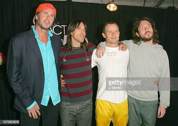 Chad Smith Anthony Kiedis Flea and John Frusciante of The Red Hot Chili Peppers after signing items for auction in MTV VH1 CMT's ReAct Now Music...