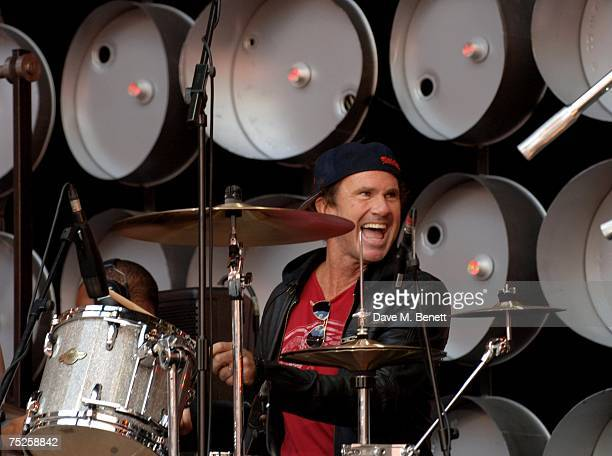 Chad Smith drummer of Red Hot Chili Peppers performs on stage during the Live Earth London concert at Wembley Stadium on July 7 2007 in London...