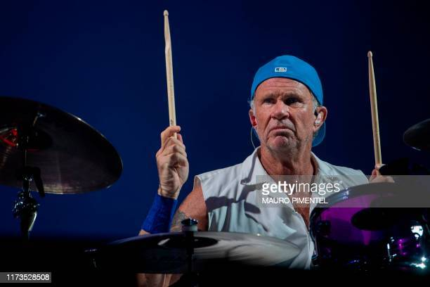 Chad Smith, drummer of the US rock band Red Hot Chili Peppers performs at the main stage of Rock in Rio festival, Olympic Park, Rio de Janeiro,...