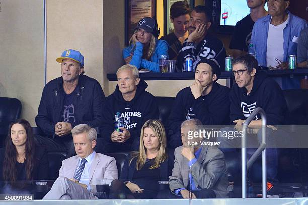Chad Smith Flea and Josh Klinghoffer attend Game One of the 2014 NHL Stanley Cup Final at the Staples Center on June 4 2014 in Los Angeles California