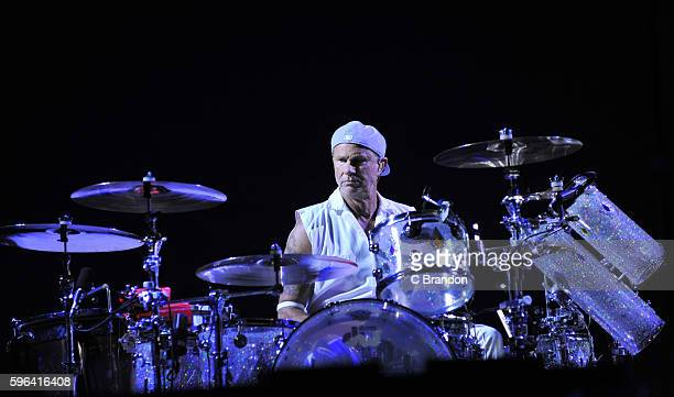 Chad Smith of Red Hot Chili Peppers headlines on the Main Stage during Day 2 of the Reading Festival at Richfield Avenue on August 27 2016 in Reading...