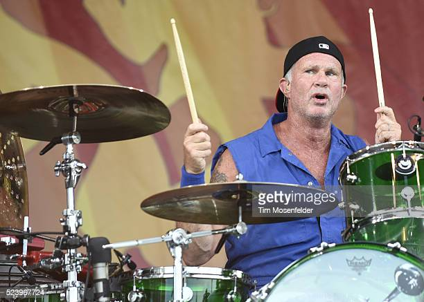 Chad Smith of Red Hot Chili Peppers performs during the 2016 New Orleans Jazz Heritage Festival at Fair Grounds Race Course on April 24 2016 in New...