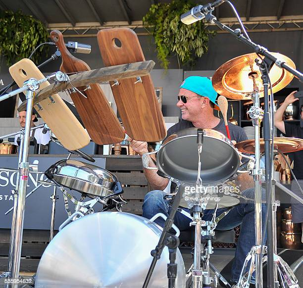 Chad Smith of Red Hot Chili Peppers performs on a drum kit made of culinary cookware on Day 3 of the 4th Annual BottleRock Napa Music Festival at...