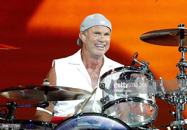 Chad Smith of Red Hot Chili Peppers performs on Day 2 of Reading Festival at Richfield Avenue on August 27 2016 in Reading England