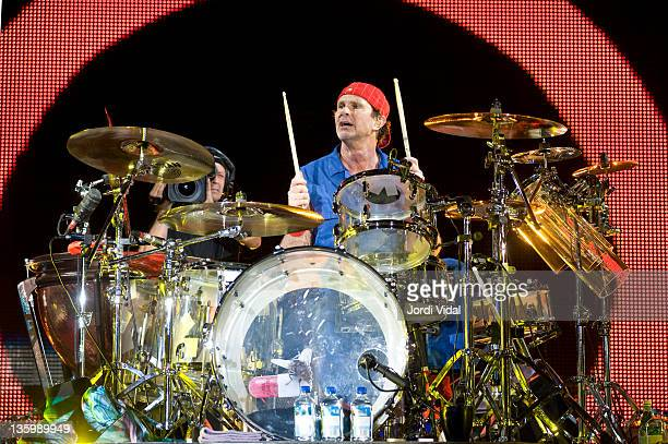 Chad Smith of Red Hot Chili Peppers performs on stage at Palau Sant Jordi on December 15, 2011 in Barcelona, Spain.