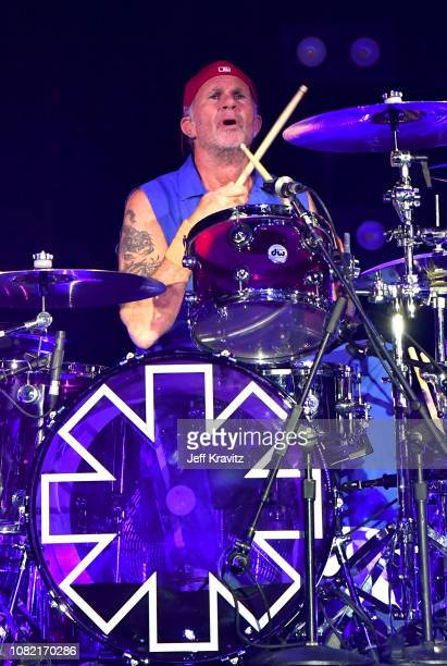 Chad Smith of the Red Hot Chili Peppers performs at Malibu Love Sesh Benefit Concert for victims of the Malibu Fires at the Hollywood Palladium on...