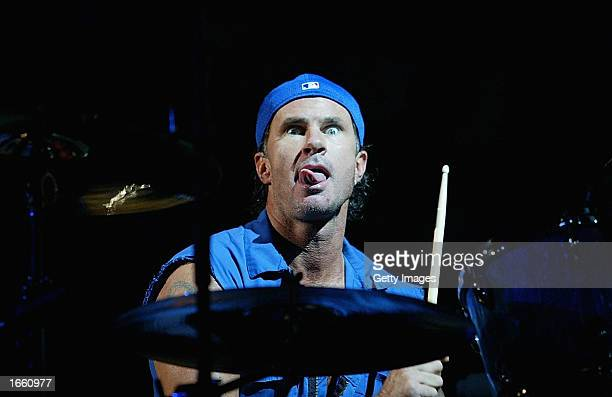 Chad Smith of the rock group the Red Hot Chili Peppers performs at the Brisbane Entertainment Centre November 26 2002 in Brisbane Australia The group...