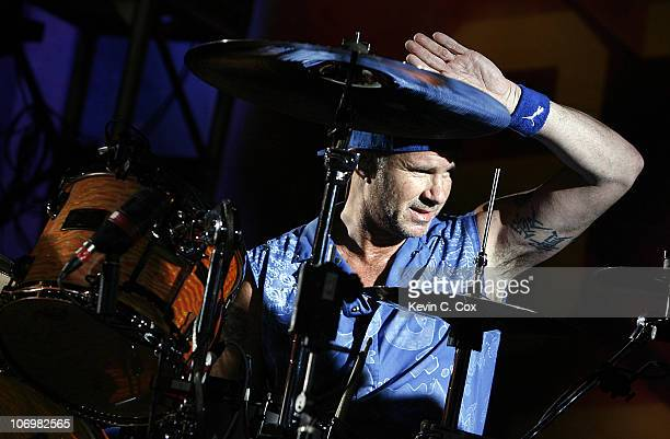 Chad Smith on the Drums of The Red Hot Chili Peppers performing during the Red Hot Pit Stop in the NASCAR NEXTEL Cup AllStar Challenge Saturday May...