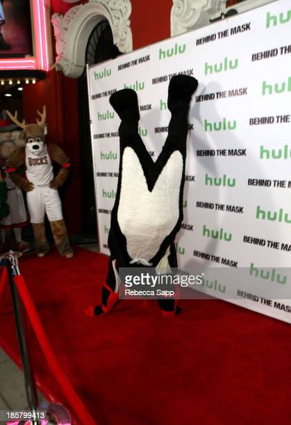 Chad Spencer as AHL hockey's Tux the Penguin at Hulu Presents The LA Premiere Of 'Behind the Mask' at the Vista Theatre on October 24 2013 in Los...