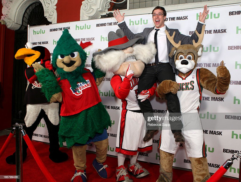 Chad Spencer as AHL hockey's Tux the Penguin, Michael Hostetter as Lebanon High School's Rooty the Cedar Tree, Jon 'Jersey' Goldman as UNLV's Hey Reb, director Josh Greenbaum, Kevin Vanderkolk as NBA's Milwaukee Bucks' Bango at Hulu Presents The LA Premiere Of 'Behind the Mask' at the Vista Theatre on October 24, 2013 in Los Angeles, California.