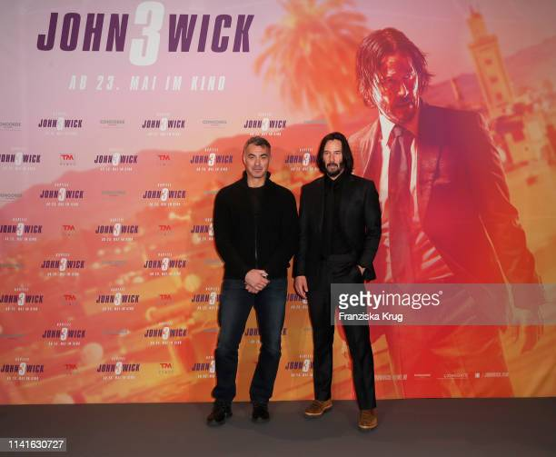 Chad Stahelski and Keanu Reeves pose at the John Wick Chapter 3 Parabellum photocall at Hotel De Rome on May 6 2019 in Berlin Germany
