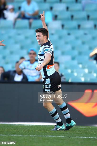 Chad Townsend of the Sharks celebrates scoring a try during the NRL Elimination Final match between the Cronulla Sharks and the North Queensland...