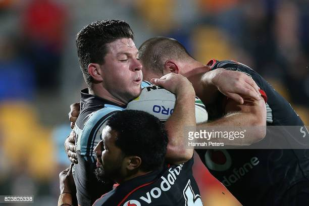 Chad Townsend of the Sharks charges forward during the round 21 NRL match between the New Zealand Warriors and the Cronulla Sharks at Mt Smart...