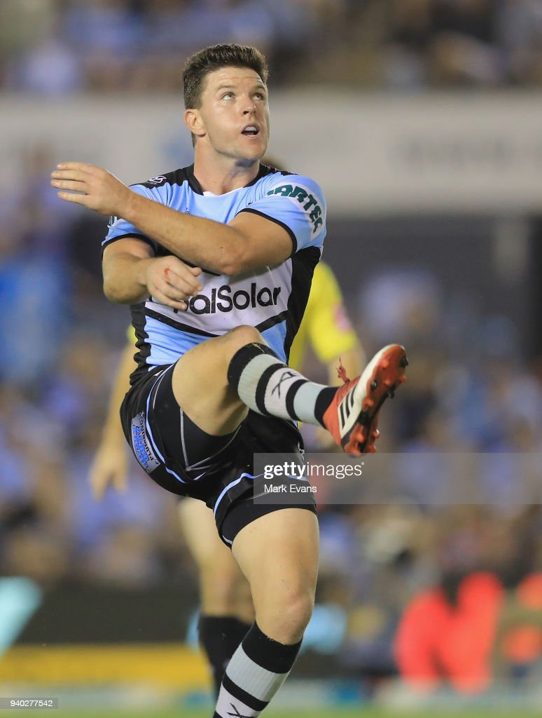 Chad Townsend of the Sharks gets a kick away during the round four NRL match between the Cronulla Sharks and the Melbourne Storm at Southern Cross Group Stadium on March 30, 2018 in Sydney, Australia.