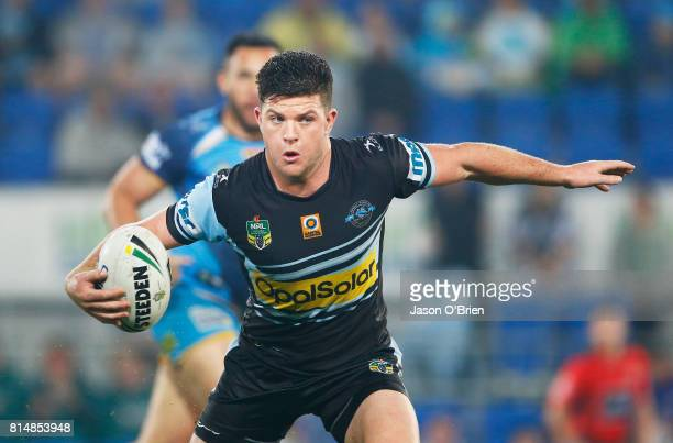 Chad Townsend of the sharks in action during the round 19 NRL match between the Gold Coast Titans and the Cronulla Sharks at Cbus Super Stadium on...
