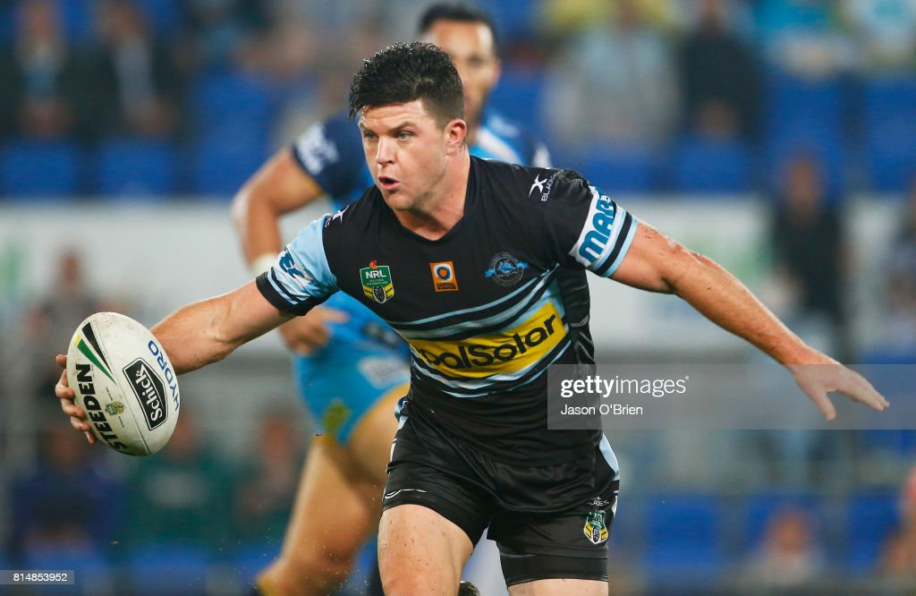 Chad Townsend of the sharks in action during the round 19 NRL match between the Gold Coast Titans and the Cronulla Sharks at Cbus Super Stadium on July 15, 2017 in Gold Coast, Australia.