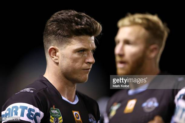 Chad Townsend of the Sharks looks dejected after defeat during the round 22 NRL match between the Cronulla Sharks and the Canberra Raiders at...