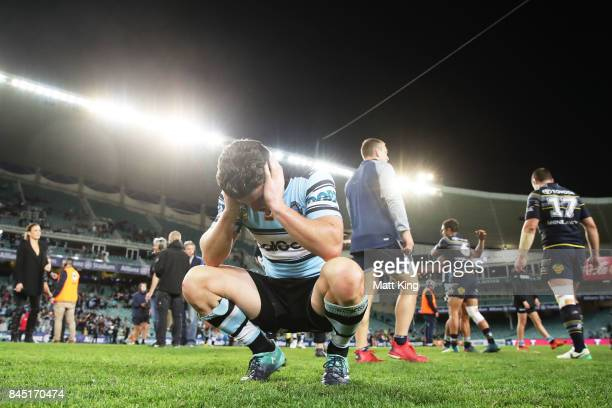 Chad Townsend of the Sharks looks dejected at fulltime during the NRL Elimination Final match between the Cronulla Sharks and the North Queensland...