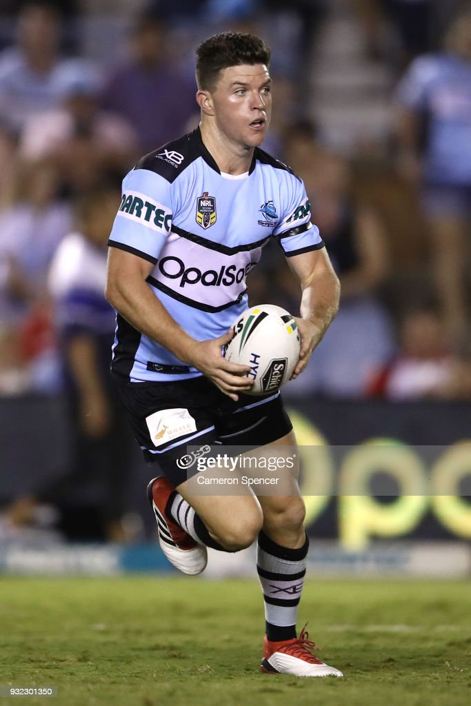 Chad Townsend of the Sharks runs the ball during the round two NRL match between the Cronulla Sharks and the St George Illawarra Dragons at Southern Cross Group Stadium on March 15, 2018 in Sydney, Australia.