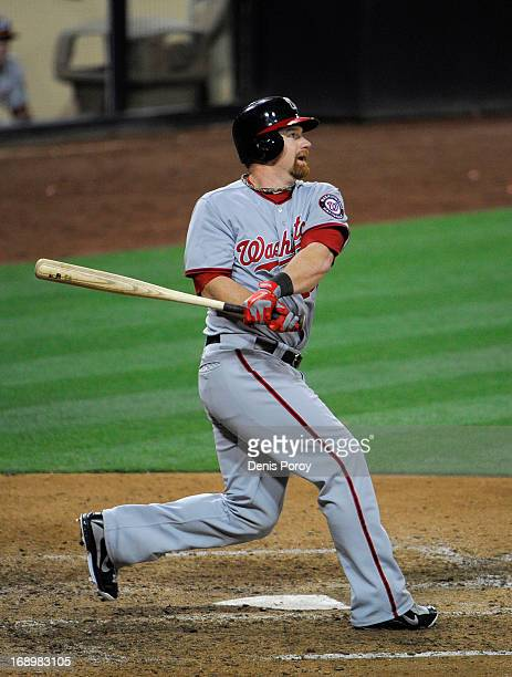 Chad Tracy of the Washington Nationals hits a game winning solo home run in the tenth inning of a baseball game against the San Diego Padres at Petco...