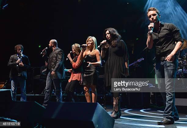 Chad Warrix Eric Lee Beddingfield Rhonda Vincent Lisa Matassa Mandy Barnett and Greg Bates perform during Playin' Possum The Final No Show Tribute To...