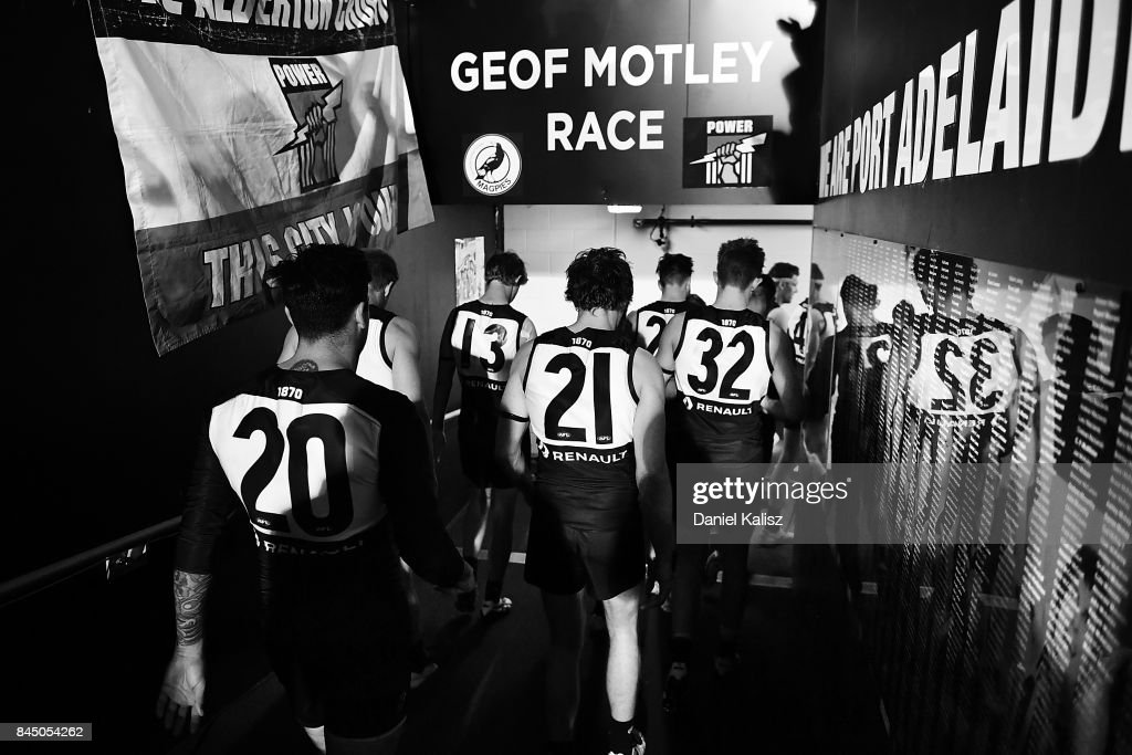 Chad Wingard and Jared Polec of the Power walk from the field after the AFL First Elimination Final match between Port Adelaide Power and West Coast Eagles at Adelaide Oval on September 9, 2017 in Adelaide, Australia.