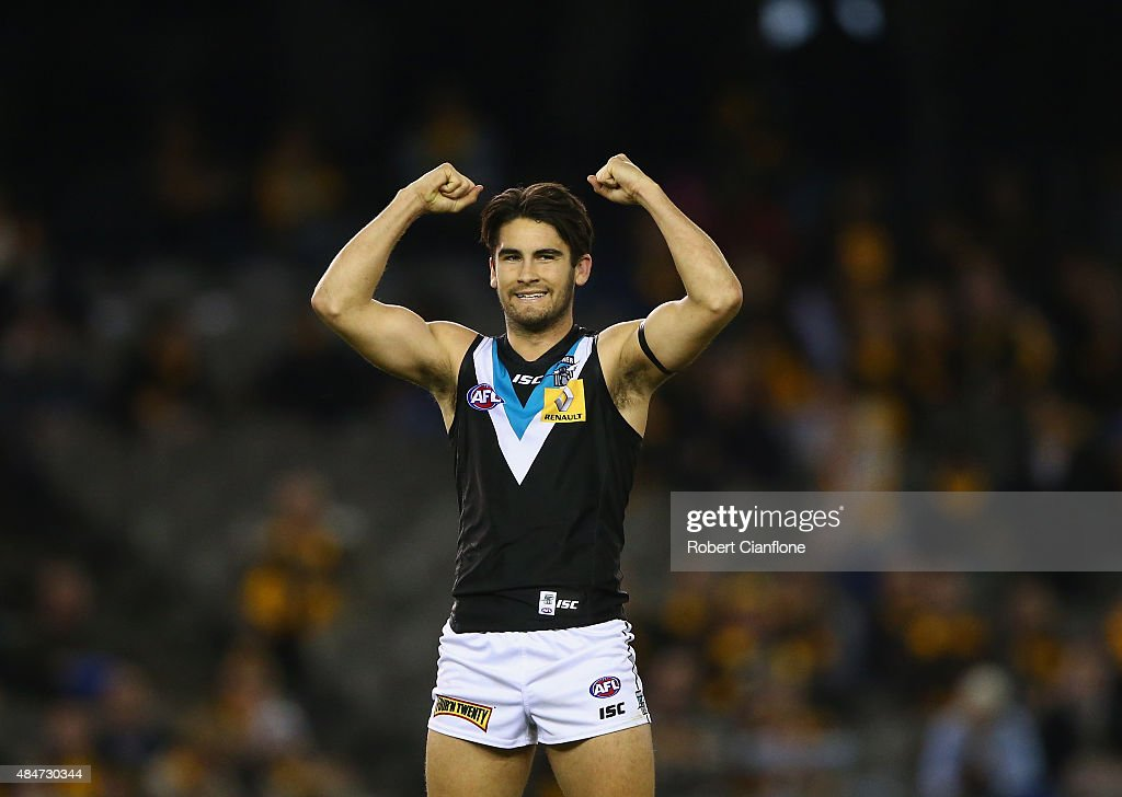 Chad Wingard of Port Adelaide celebrates on the siren after the Power defeated the Hawks during the round 21 AFL match between the Hawthorn Hawks and Port Adelaide Power at Etihad Stadium on August 21, 2015 in Melbourne, Australia.