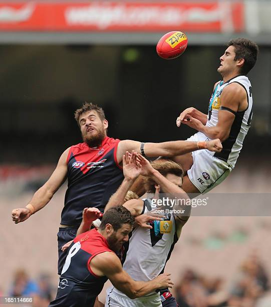 Chad Wingard of the Power attempts to take a mark during the round one AFL match between the Melbourne Demons and Port Adelaide Power at the...