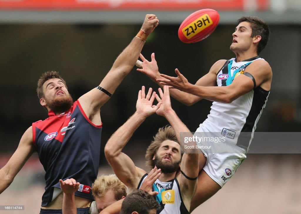 Chad Wingard of the Power attempts to take a mark during the round one AFL match between the Melbourne Demons and Port Adelaide Power at the Melbourne Cricket Ground on March 31, 2013 in Melbourne, Australia.