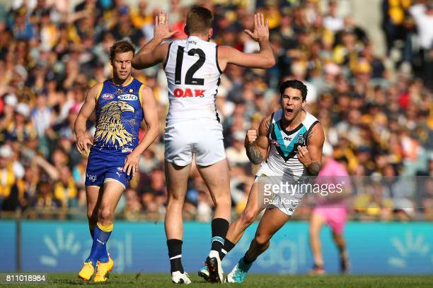 Chad Wingard of the Power celebrates a goal during the round 16 AFL match between the West Coast Eagles and the Port Adelaide Power at Domain Stadium...