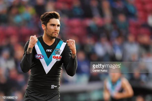 Chad Wingard of the Power celebrates after kicking a goal during the round 21 AFL match between the Port Adelaide Power and the West Coast Eagles at...