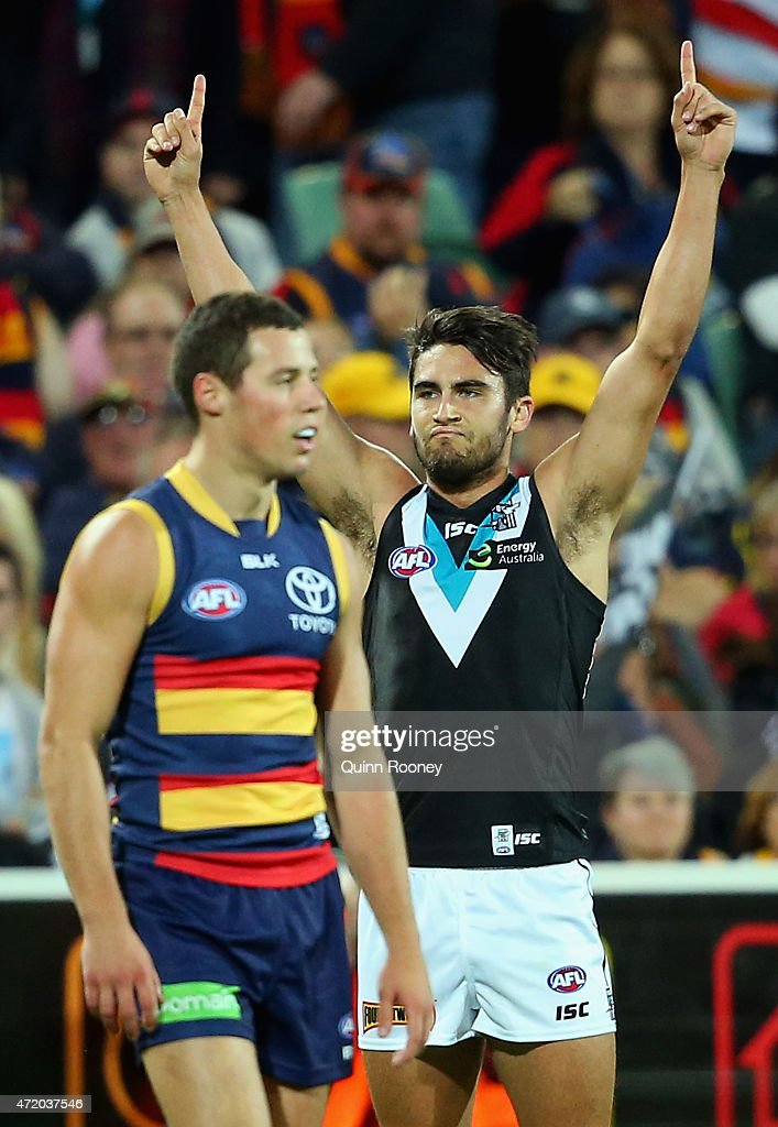 Chad Wingard of the Power celebrates after kicking a goal during the round five AFL match between the Adelaide Crows and the Port Adelaide Power at Adelaide Oval on May 3, 2015 in Adelaide, Australia.
