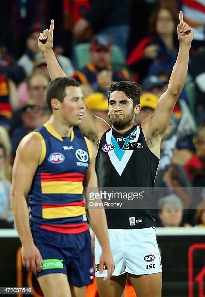 Chad Wingard of the Power celebrates after kicking a goal during the round five AFL match between the Adelaide Crows and the Port Adelaide Power at...