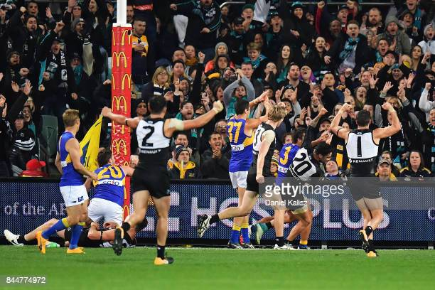 Chad Wingard of the Power celebrates after kicking a goal during the AFL First Elimination Final match between Port Adelaide Power and West Coast...