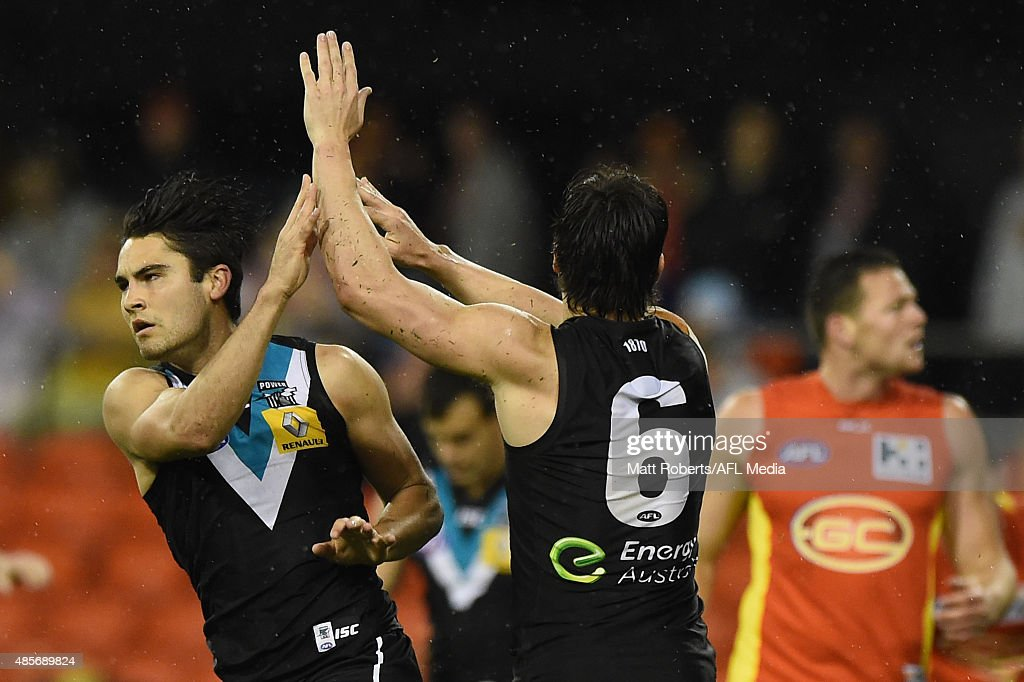 Chad Wingard of the Power celebrates kicking a goal during the round 22 AFL match between the Gold Coast Suns and the Port Adelaide Power at Metricon Stadium on August 29, 2015 on the Gold Coast, Australia.